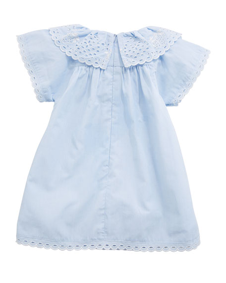 Cotton Dress w/ Eyelet Ruffle Collar, Size 6-18 Months