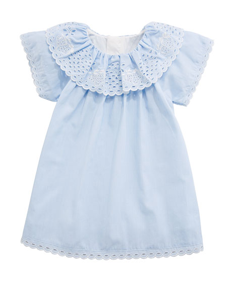 Chloe Cotton Dress w/ Eyelet Ruffle Collar, Size