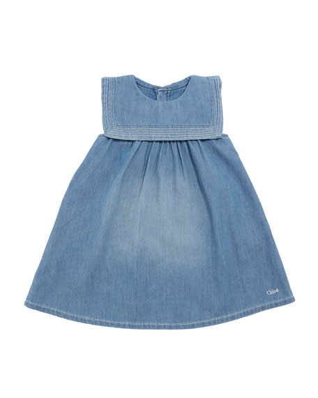 Chloe Light Denim Dress w/ Sailor Collar, Size