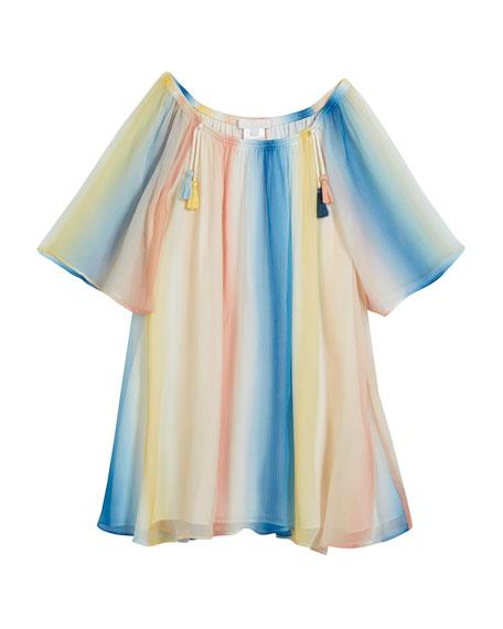Mini Me Rainbow Silk Dress, Size 12-14