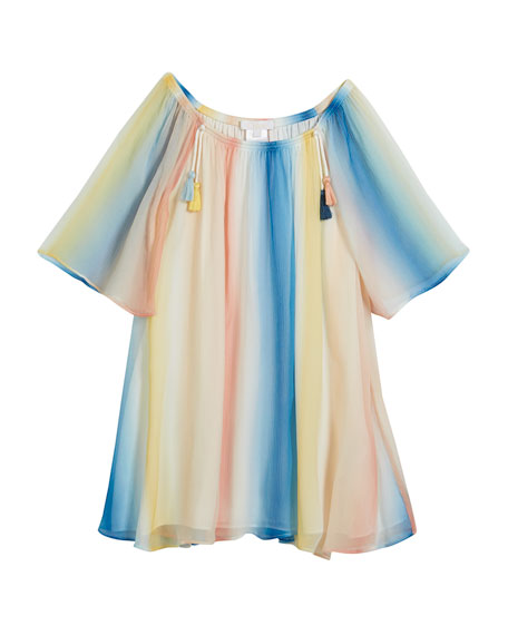 Mini Me Rainbow Silk Dress, Size 4-5