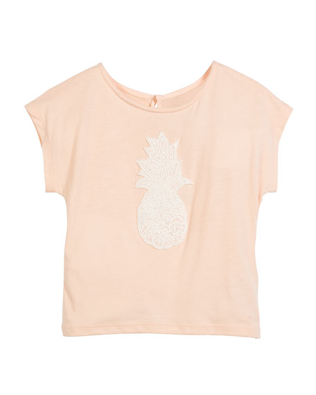 Chloe Pineapple Embroidery Short-Sleeve T-Shirt, Size 4-5