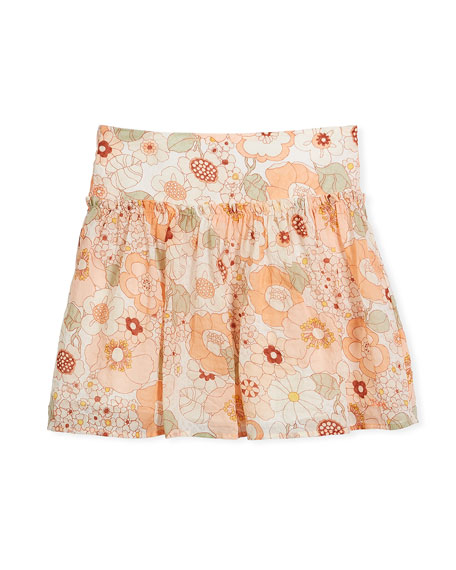 Pleated Floral Skirt, Size 4-5