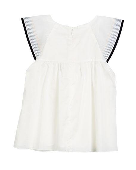 Flutter-Sleeve Cotton Blouse w/ Stitching Details, Size 4-5