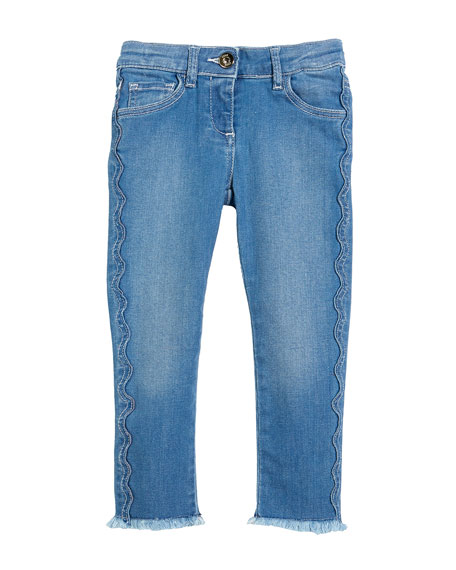 Chloe Raw-Hem Scallop Denim Jeans, Size 4-5 and