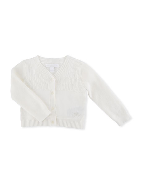 Burberry Francis Cotton Knit Cardigan, Size 3-24 Months