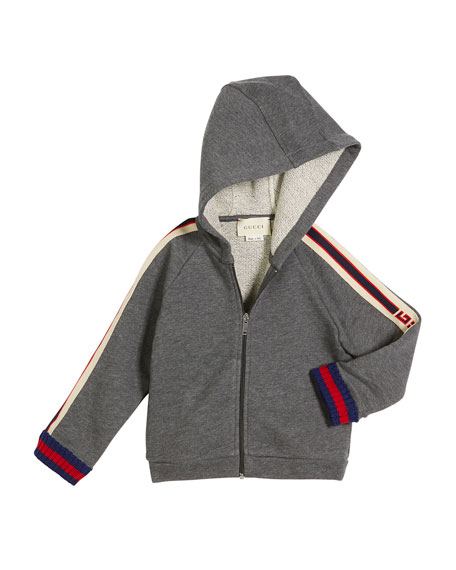 Zip-Up Hooded Sweatshirt w/ Logo Trim, Size 12-36 Months