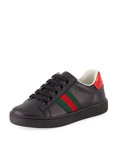 New Ace Web-Trim Leather Sneaker, Toddler/Kids