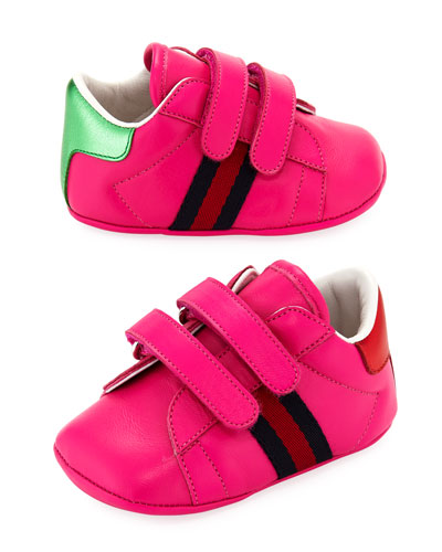 New Ace Leather Grip-Strap Sneaker, Baby