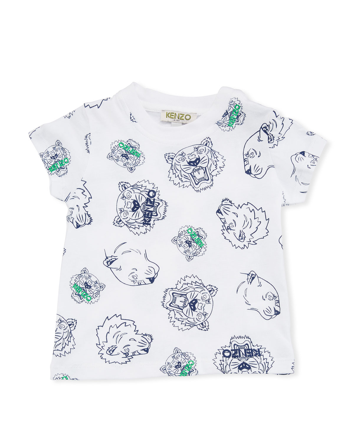 b1528ee1 Kenzo Allover Tiger Face T-Shirt, White, Size 6-18 Months | Neiman ...