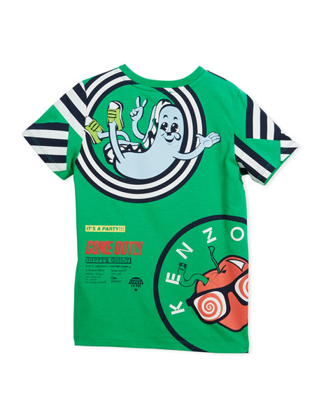 Multi-Food Icon Tiger Striped T-Shirt, Green, Size 2-6