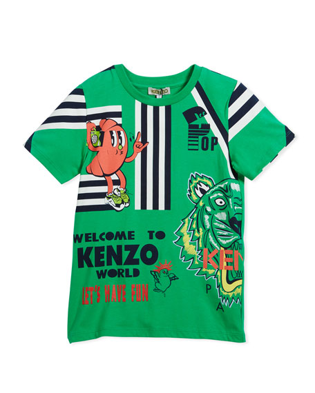 Kenzo Multi-Food Icon Tiger Striped T-Shirt, Green, Size