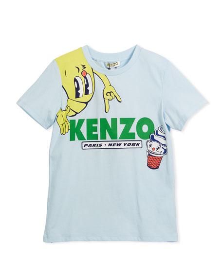 Kenzo Croissant Logo T-Shirt, Blue, Size 4-6
