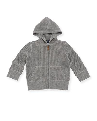 Waffle-Knit Hooded Cashmere Jacket, Size 2-4