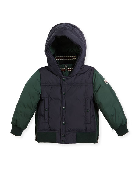 Moncler Luke Two-Tone Hooded Jacket, Size 4-6