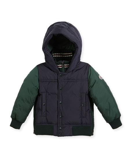 Moncler Luke Two-Tone Hooded Jacket, Size 4-6