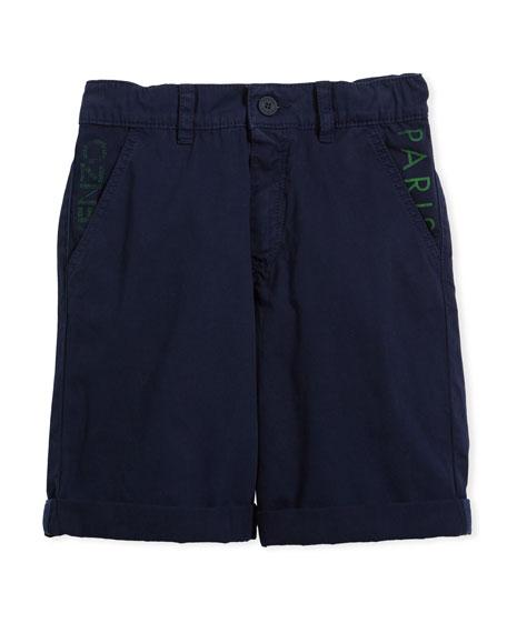 Kenzo Chino Shorts w/ Logo Pockets, Navy, Size