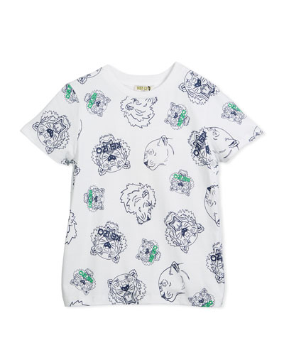 Allover Tiger Face T-Shirt, White, Size 8-12