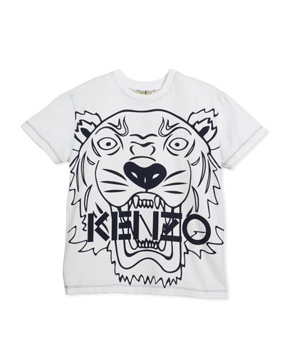 Oversized Tiger Face Graphic T-Shirt, Size 8-12