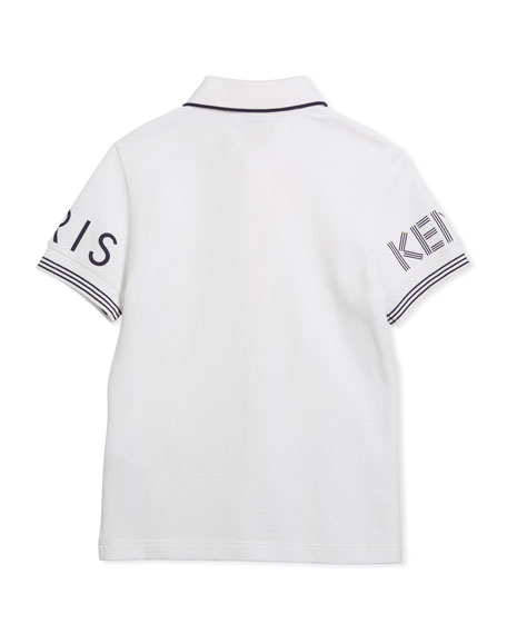 Short-Sleeve Polo w/ Logo Details, White, Size 8-12