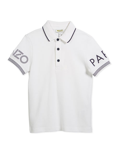 Short-Sleeve Polo w/ Logo Details, White, Size 4-6