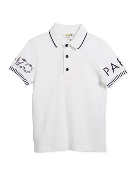 Kenzo Short-Sleeve Polo w/ Logo Details, White, Size