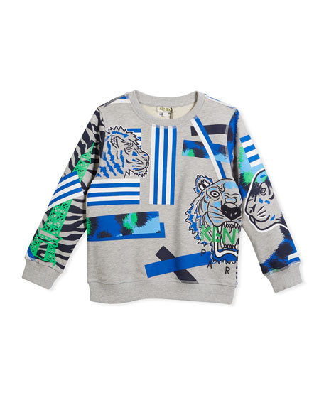 Kenzo Multi-Icon Tiger Striped Sweatshirt, Gray, Size 8-12