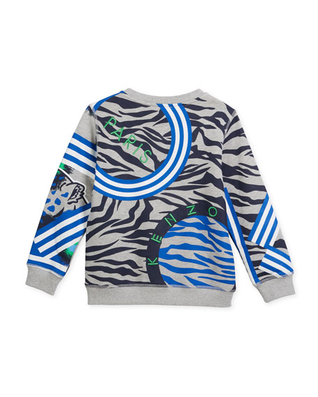 Multi-Icon Tiger Striped Sweatshirt, Gray, Size 4-6