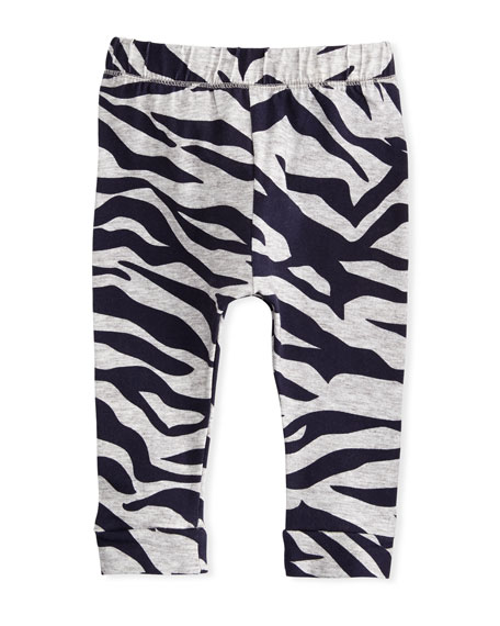 Tiger Stripe Stretch Leggings, Gray, Size 2-3