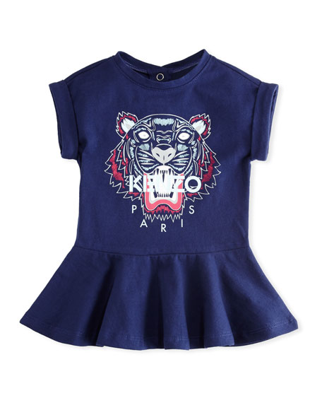 Kenzo Tiger Face Drop-Waist Dress, Navy, Size 12-18