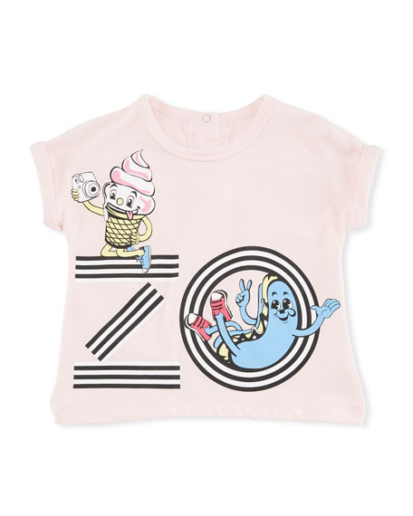 Kenzo Ice Cream Logo Graphic T-Shirt, Pink, Size