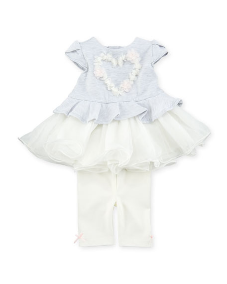 Miniclasix Tutu Heart Blouse w/ Matching Leggings, Size