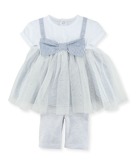 Tulle-Overlay Skirted Top w/ Jersey Leggings, Size 3-24 Months