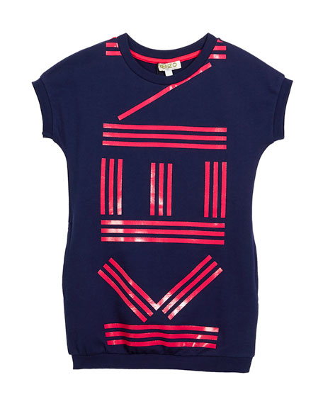Kenzo Short-Sleeve Logo Dress, Size 4-6 and Matching