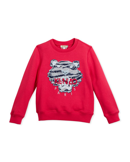 Kenzo Pullover Sweatshirt w/ Striped Tiger Face, Pink,