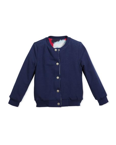 Reversible Baseball-Collar Jacket, Size 14-16