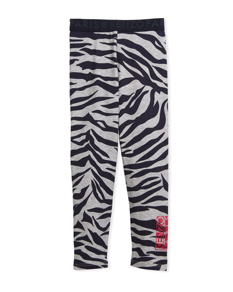 Kenzo Tiger Stripe Leggings, Gray, Size 4-6