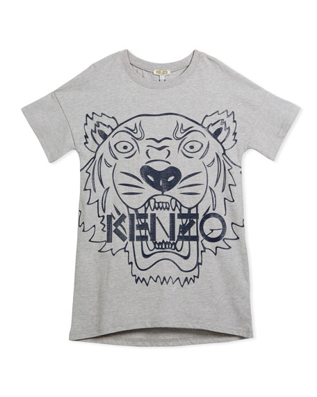 Kenzo Drop-Shoulder Dress w/ Oversized Tiger Face Graphic,
