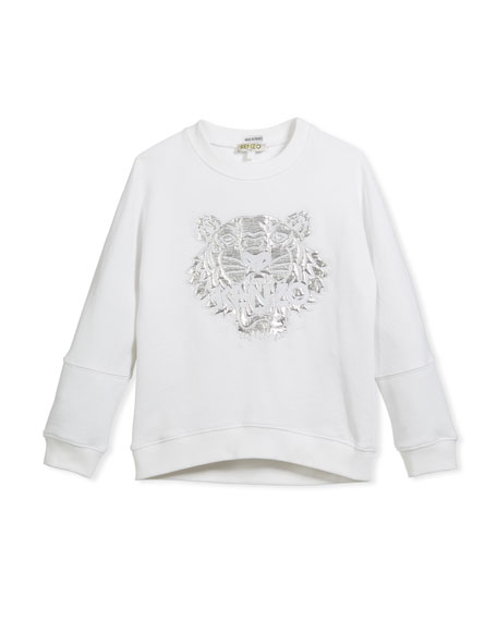 Drop-Shoulder Sweatshirt w/ Metallic Tiger Face, White, Size 4-6