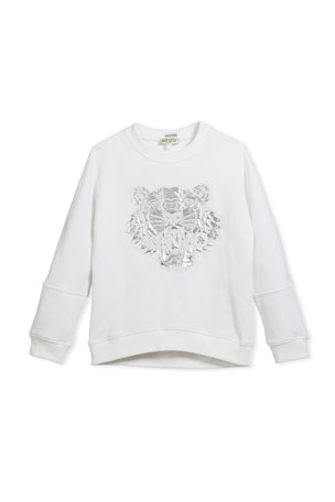 Kenzo Drop-Shoulder Sweatshirt w/ Metallic Tiger Face, White, Size 8-12