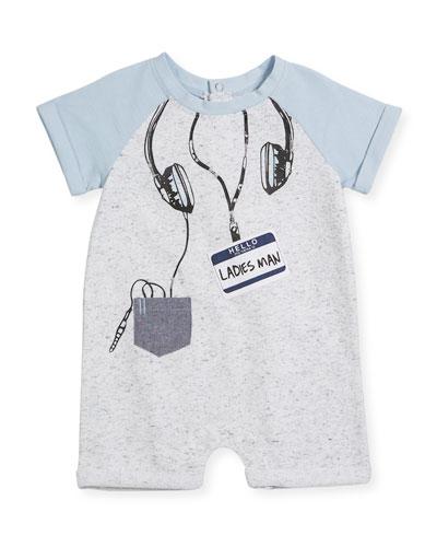 Raglan Shortall w/ Headphones Trompe l'Oeil, Size 3-9 Months