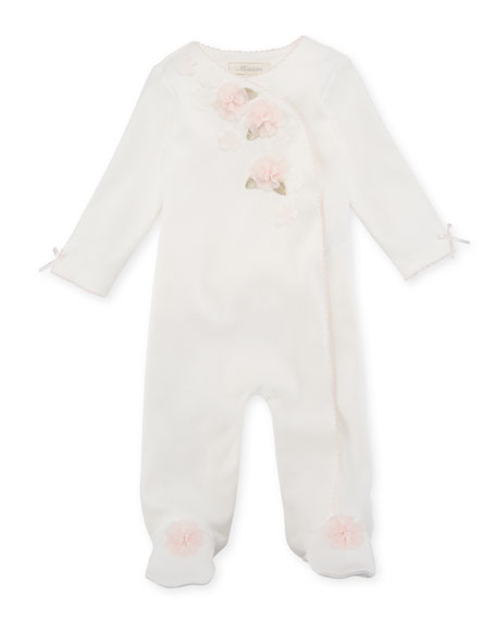 Miniclasix Ruffle & Flowers Footed Coverall, Size 3-9