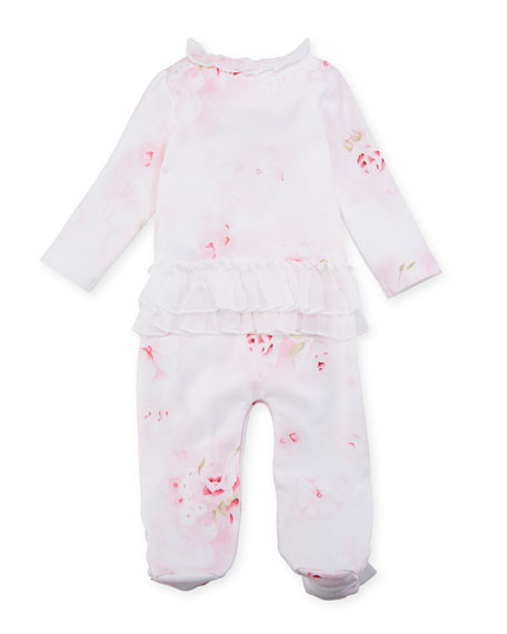 Rose-Print Ruffle Footed Coverall, Size 3-9 Months