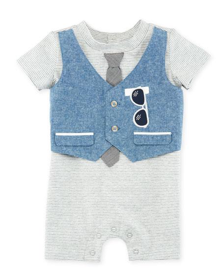 Miniclasix Mock-Vest Short-Sleeve Romper, Size 3-9 Months