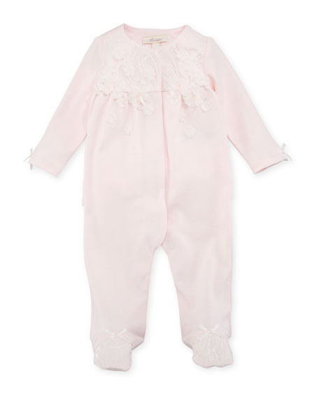 Miniclasix Lace-Overlay Footed Coverall, Pink, Size 3-9 Months