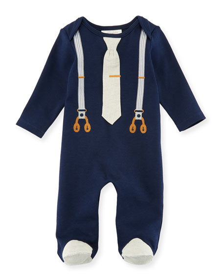 Miniclasix Mock-Suspenders Footed Coverall, Size 3-9 Months
