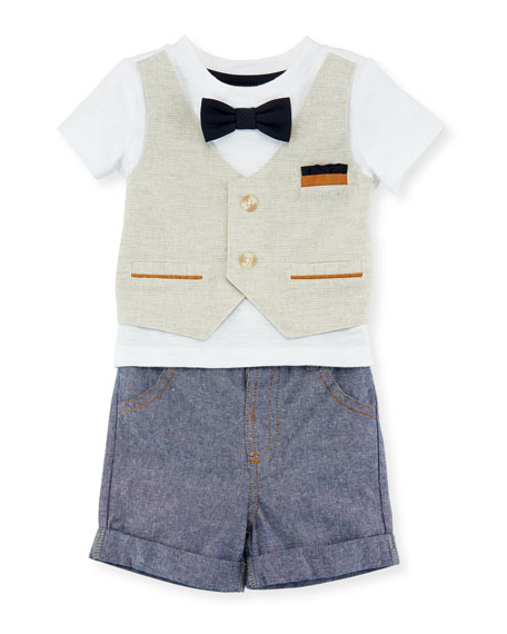 Miniclasix Mock-Vest Shirt w/ Shorts, Size 3-24 Months