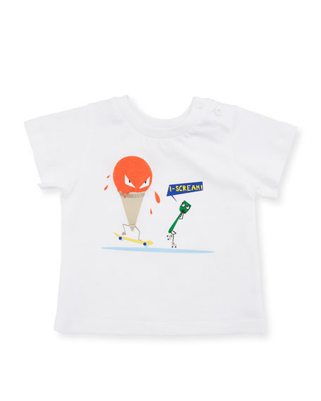 Short-Sleeve Ice Cream T-Shirt, White, Size 12-24 Months