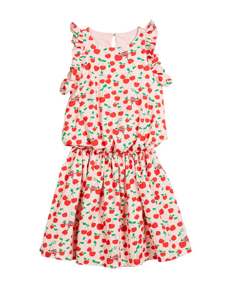 Cherry-Print Sleeveless Ruffle Dress, Size 3-5