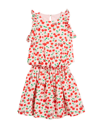 Cherry-Print Sleeveless Ruffle Dress, Size 6-8